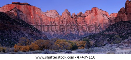 Towers of the Virgin - Zion National Park, Utah - stock photo