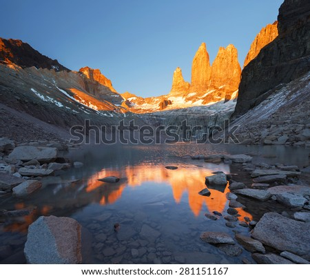Towers Towers at sunrise, national park Torres del Paine, Patagonia, Chile - stock photo