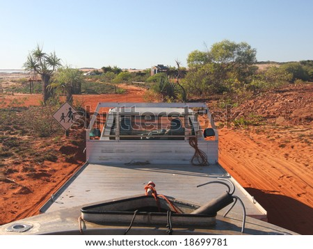 towing a boat through the australian outback - stock photo