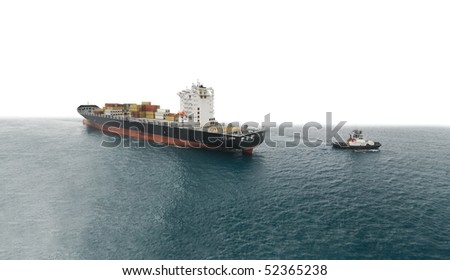 towing operation large container ship - stock photo