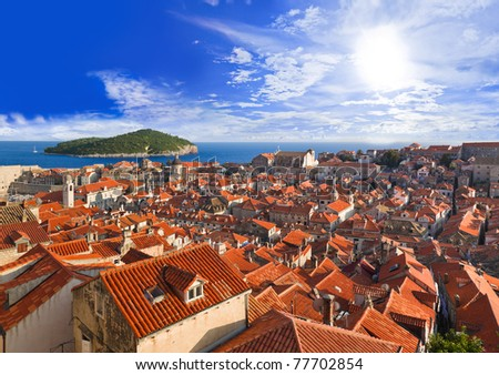 Town Dubrovnik in Croatia at sunset - travel background - stock photo