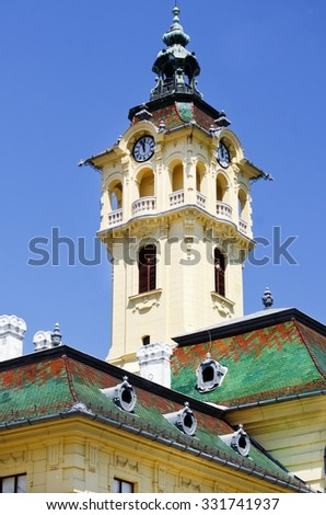 Town Hall at Szeged, Europe  (Hungary), was build 1883 - stock photo