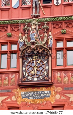 town-hall clock of basel, switzerland - stock photo