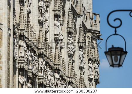 Town Hall (Hotel de Ville or Stadhuis) of Brussels, a Gothic building from the Middle Ages located on the famous Grand Place in Brussels, Belgium. - stock photo