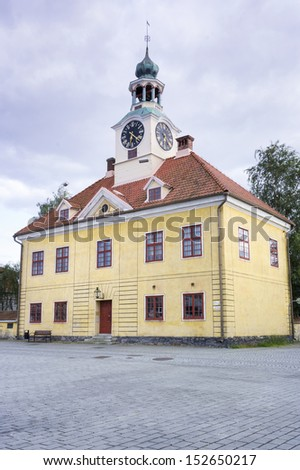 Town Hall in Rauma, Finland - the only stone building among hundreds of wooden houses at UNESCO World Heritage site - stock photo