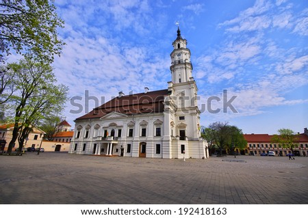 Town Hall of Kaunas in Town Hall Square at the heart of the Old Town, Kaunas, Lithuania. - stock photo