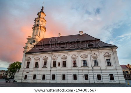 Town Hall of Kaunas in Town Hall Square at the heart of the Old Town, Kaunas, Lithuania - stock photo