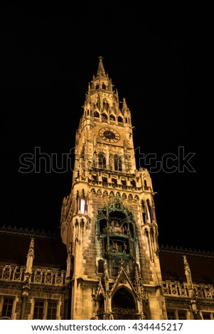 Town Hall of Munich -Bavaria, Germany- at night. City Hall lit by spotlights. - stock photo