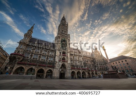 Town Hall (Rathaus) in Marienplatz, Munich, Germany - stock photo
