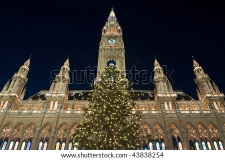 Town Hall (Rathaus) in Vienna with christmas tree, Austria - stock photo