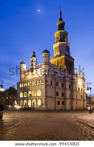 Town Hall (ratusz) in Poznan, Poland. Poznan is host city Uefa Euro 2012 - stock photo
