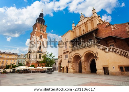 Town Hall Tower on Rynek Glowny in summer, Krakow - stock photo