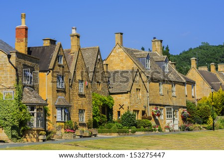 town house high street broadway cotswolds worcestershire uk - stock photo