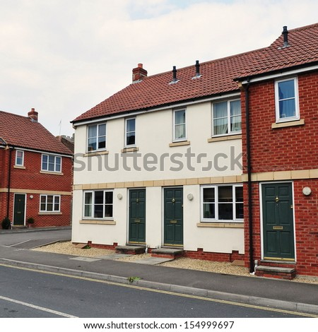 Town Houses on a Typical English Residential Estate - stock photo