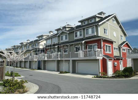 Town Houses With Individual Garages - stock photo