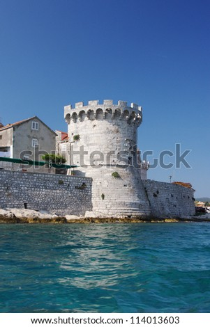 town Korcula, Coratia, Adriatic sea - stock photo