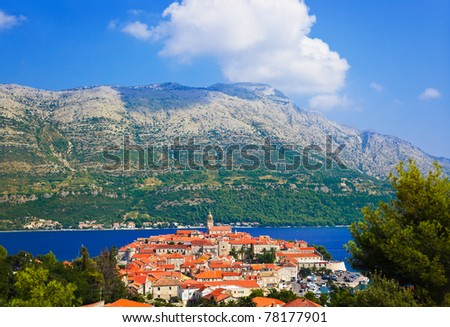 Town Korcula in Croatia - travel background - stock photo