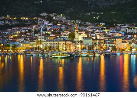 Town Makarska in Croatia at night - travel background - stock photo