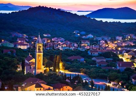 Town of Murter evening view, Dalmatia, Croatia - stock photo