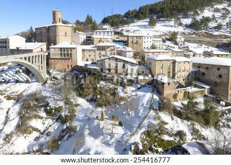 Town of Ortigosa de Cameros in a snowy day, La Rioja, Spain - stock photo