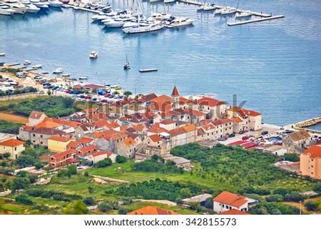 Town of Seget aerial view, Dalmatia, Croatia - stock photo
