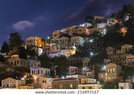 Town of Symi night view - stock photo