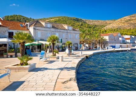 Town of Vis seafront view, Dalmatia, Croatia - stock photo