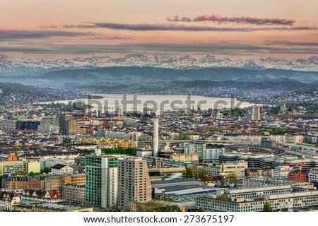 Town of Zurich (Switzerland), HDR-technique - stock photo