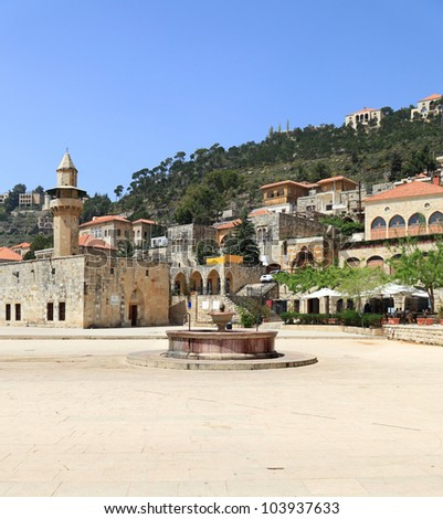 Town Square at Historical Deir el Qamar, Lebanon - stock photo