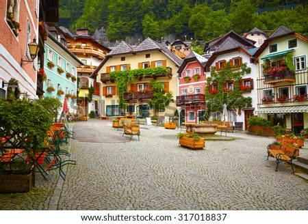 Town square in Hallstatt - stock photo