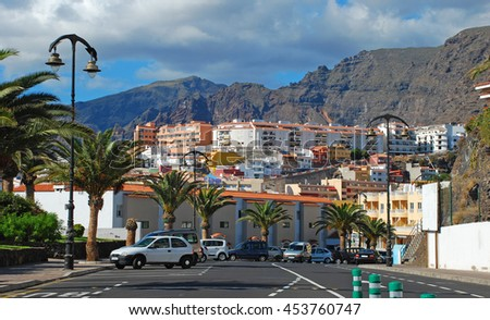 Town street view, Canary islands, Spain - stock photo