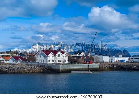Town Svolvaer on Lofoten islands in sunny day - stock photo