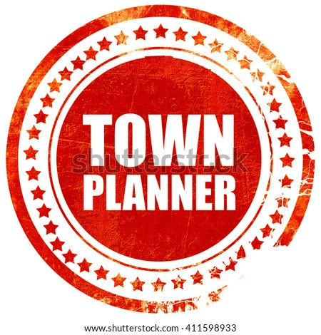 townplanner, red grunge stamp on solid background - stock photo
