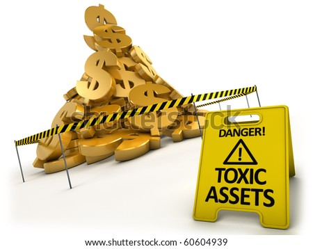 Toxic assets concept. Heap of dollars behind danger tape and warning sign. - stock photo
