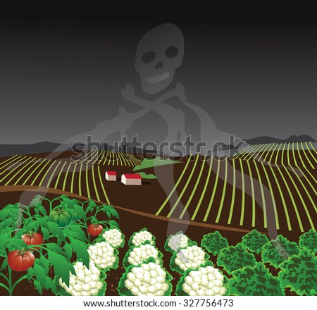 Toxic farm with chemical fumes forming skull and crossbones. Royalty free stock illustration for ad, promotion, poster, flier, blog, article, social media, marketing - stock photo