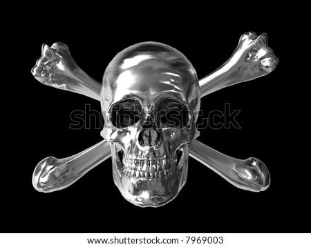 toxic symbol skull with chrome metallic texture - stock photo
