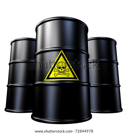 Toxic waste barrels symbol represented by  black metal oil and chemical  drums. - stock photo