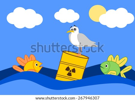 Toxic waste in the ocean and the afraid fish cartoon illustration - stock photo