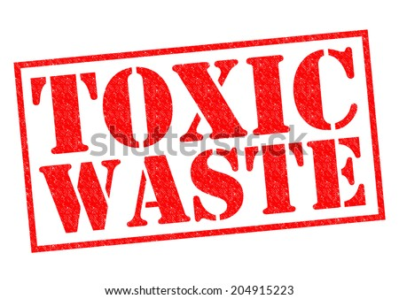 TOXIC WASTE red Rubber Stamp over a white background. - stock photo
