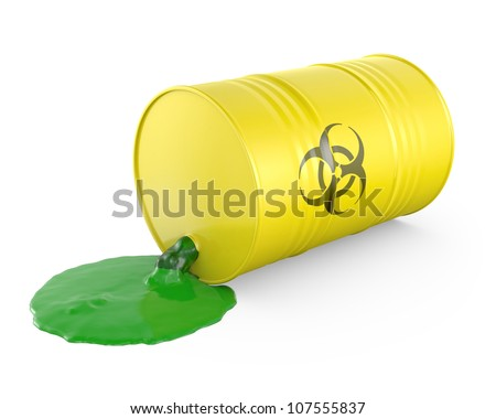 Toxic waste spilling from barrel, isolated on white background - stock photo