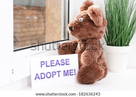 Toy-bear looking out window close-up - stock photo