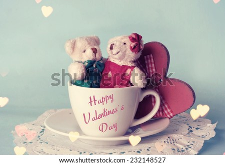 Toy bears. Valentines day. - stock photo