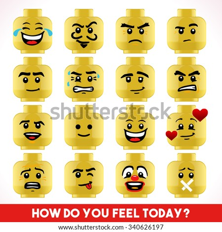 Toy Block Collection of Different Emoji Faces Basic Toy Character Unconventional Emoticons LoL Smiling Happy Worried Sophisticated Love Angry Crazy Young Boy Illustration - stock photo