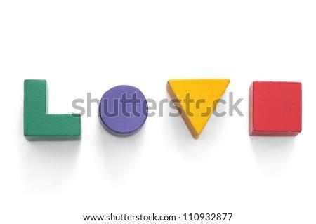 Toy blocks - love - stock photo