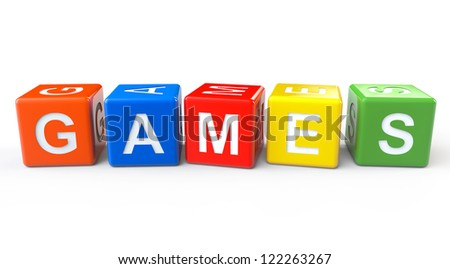 Toy Blocks with Games Sign on a White Background - stock photo