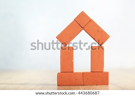 toy brick house - stock photo
