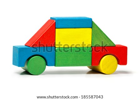 toy car, multicolor wooden blocks transport over white background  - stock photo