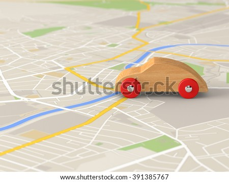 toy car on a city map - stock photo