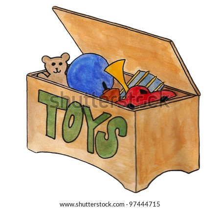 Toy chest, chest of toys, toy box - stock photo