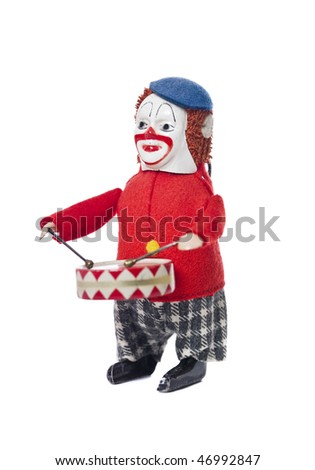 Toy Clown with drums - stock photo